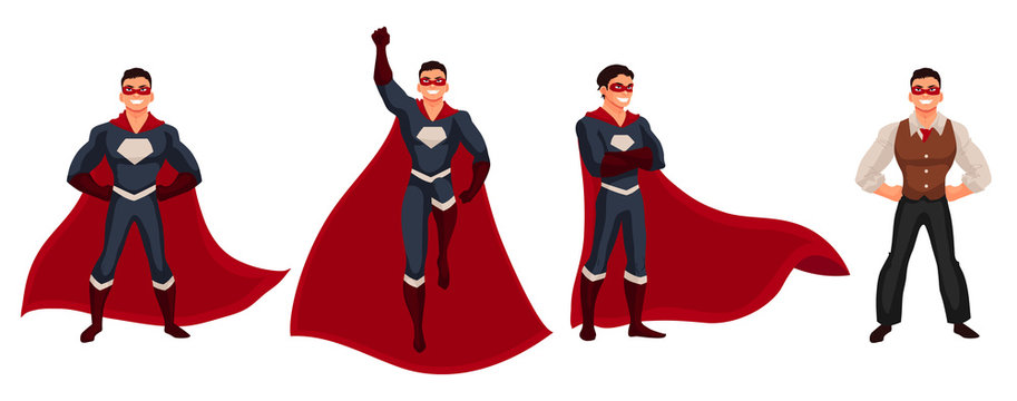 Male superhero cartoon style vector illustration isolated on white background. Set of same man in casual suit and in superhero disguise, super power man. Ordinary person as superhero concept