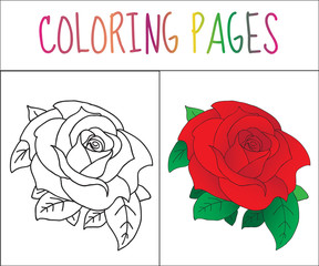 Coloring book page, Rose. Sketch and color version. Coloring for kids. Vector illustration
