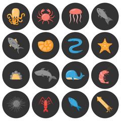 Vector cartoon sea underwater creatures icons