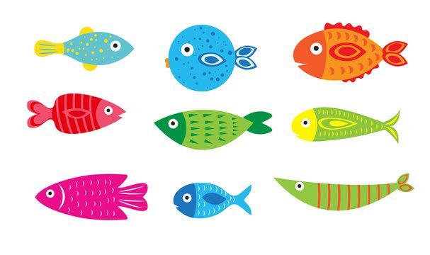 Cartoon baby fish set, vector illustration of a fish