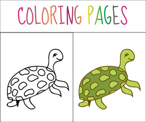 Coloring book page, turtle. Sketch and color version. Coloring for kids. Vector illustration