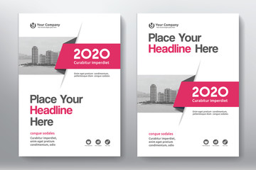 Red Color Scheme with City Background Business Book Cover Design Template in A4. Easy to adapt to Brochure, Annual Report, Magazine, Poster, Corporate Presentation, Portfolio, Flyer, Banner, Website