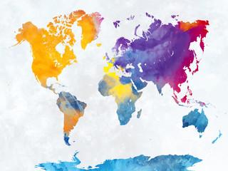 Obraz Akwarelowa mapa świata - fototapety do salonu