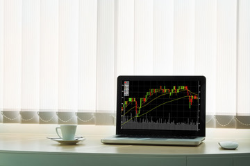 Stock graph on laptop screen with opened diary and cup of coffee