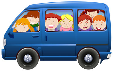 Children having carpool in blue van