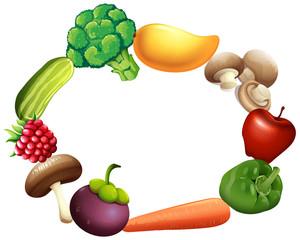 Frame design with fresh fruit and vegetables