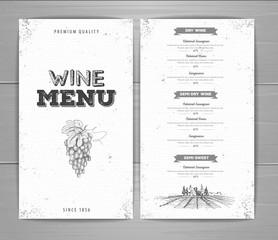Vintage wine menu design. Document template
