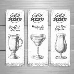 Set of cocktail sketch banners. Cocktail menu design