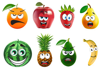funny fruits with face