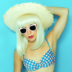 Beach Party Girl. Straw Hat,  Havana funny style. Papaya Collage
