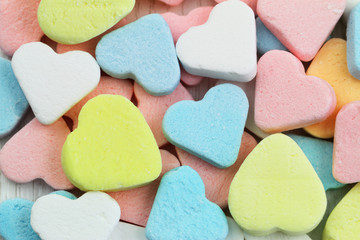 Background made of colorful sugar hearts