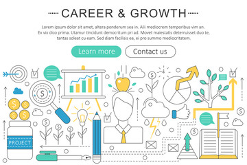 Vector elegant thin line flat modern Career and growing concept. Website header banner elements layout. Presentation, flyer and poster.