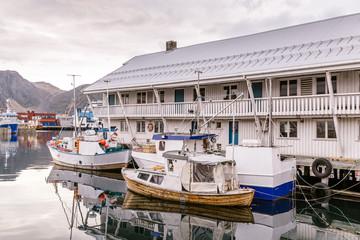 HONNINGSVAG, NORWAY- JULY 24, 2016: Port of Honningsvag in Finnm