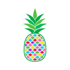 Colorful vector pineapple icon