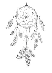 Native American Indian Talisman Dreamcatcher with Feathers.
