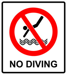 No diving sign. Vector prohibition symbol in red circle