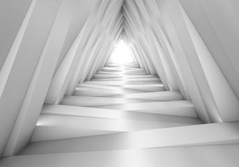 Tunel 3D w odcieniach bieli i szarości