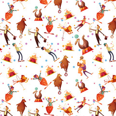 Circus Seamless Decorative Retro Cartoon Pattern