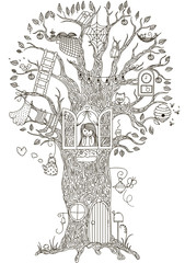 Magic Tree.  house in which he lives a girl. Vector illustration.