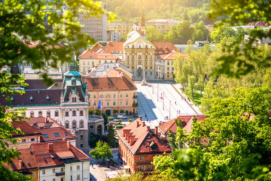 Aerial cityscape view with Ursuline church of the Holy Trinity in Ljubljana