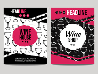Vector set of modern posters with wine backgrounds. Trendy templates with wine glass patterns for flyers, banners, invitations, restaurant or cafe menu design.