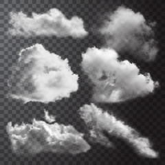 Realistic Clouds Icon Set