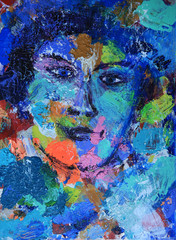 Abstract woman portrait painted on canvas