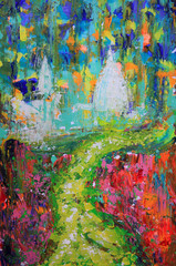 Abstract art painting of the way and churches