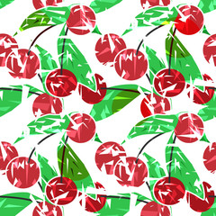Modern fresh seamless pattern with cherries. Repeating bright pr