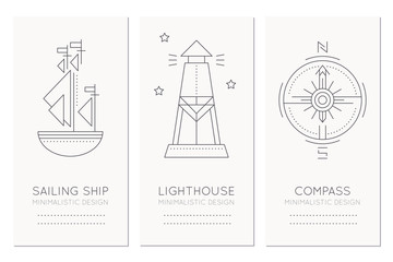 Nautical card design template with thin line style illustrations of sailing ship, lighthouse and compass rose
