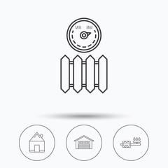 Real estate, garage and heat radiator icons.