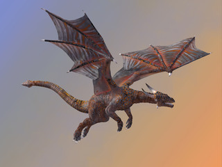 Hell Dragon Flying - A red hell dragon is a creature of myth and legend and is fire-breathing and has horns and wings.