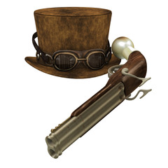 Steampunk Hat Goggles Gun - A Steampunk collection of various items representing the subculture of cyberpunk.