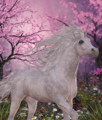Unicorn Cherry Blossom Glen - A white Unicorn mare prances through a fairy forest full of blossoming cherry trees.