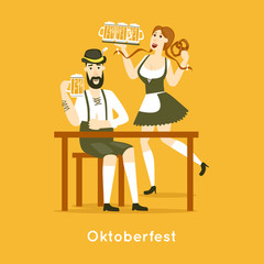 Oktoberfest characters. Bavarian man and woman with beer cup. Folk costumes. Poster. Flat design vector illustration.