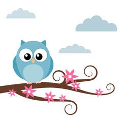 Little owl on the tree