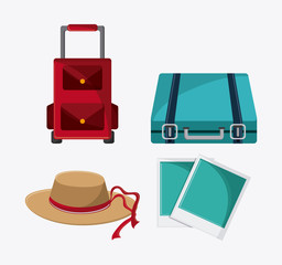 baggage picture hat time to travel vacations trip icon. Colorfull illustration. Vector graphic
