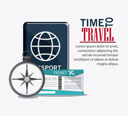 passport compass ticket time to travel vacations trip icon. Colorfull illustration. Vector graphic
