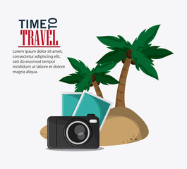 palm tree picture camera time to travel vacations trip icon. Colorfull illustration. Vector graphic