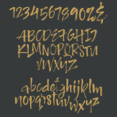 Calligraphy alphabet written with dry brush