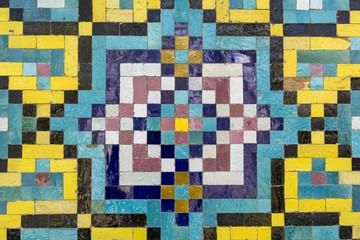 Portion of an old mosaic wall in Golestan palace, Tehran, Iran