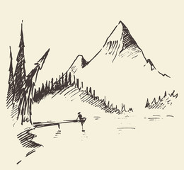 Drawn landscape mountain lake fir forest vector.