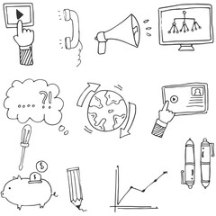 Doodle Business icons hand draw