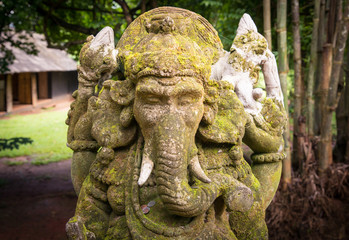The stone sculpture of Ganesha the lord of success in Hindu religion.