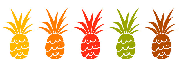Pineapples hand drawn set isolated
