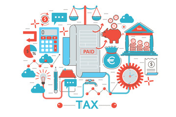 Modern Flat thin Line design Tax taxes concept for web banner website, presentation, flyer and poster.
