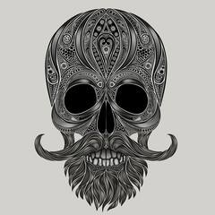 Vector human skull made of flowers with a mustache and beard