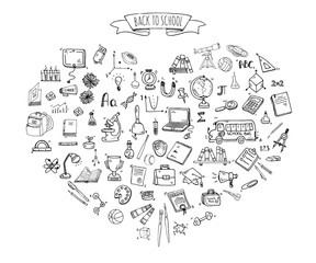 Hand drawn doodle Back to school icons set Vector illustration educational symbols collection Cartoon various learning elements: Laptop; Lunch box; Bag; Microscope; Telescope; Books; Pencil Sketch bus