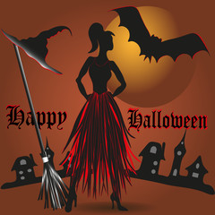 Vector illustration Happy Halloween Image of happy Halloween against the backdrop of the city and the moon is of modern, young witch and her friend a bat located near the broom and hat
