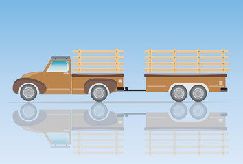 Old Pick up Truck with Trailer truck